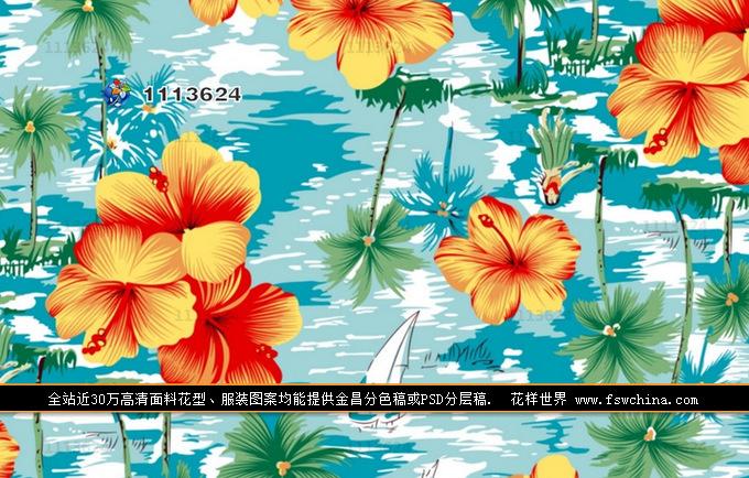 印花图案服装面料花型沙滩花样高清下载