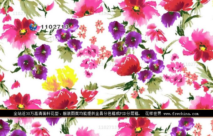 印花花型图案水墨水彩手绘高清免费下载