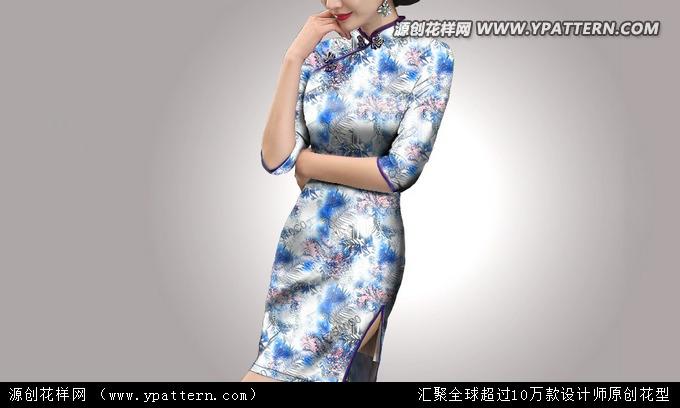 真丝丝绸数码印花花型旗袍唐装面料图案